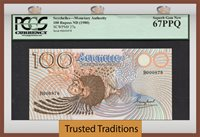 100 Rupees 1980 Seychelles Pcgs 67 Ppq Superb Gem New None Finer!