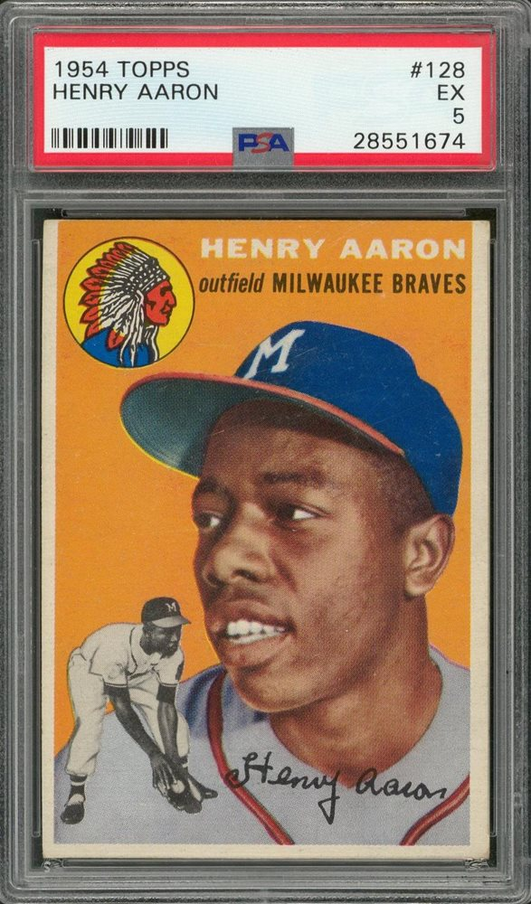 1954 Topps 128 Hank Aaron Rookie Card Psa Ex 5