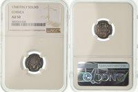 Soldo 1768 Corte Frankreich Coin, Pascal Paoli, Corte, Ngc, Au50, Billon, graded