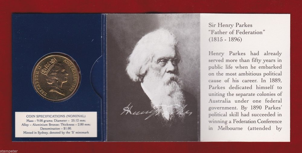 $1 Unc /'S/' Mintmark Coin Wholesale! 10 x 1996 Sir Henry Parkes Father of Fed