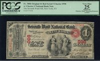 US PCGS 25 Apparent Apparent Pinholes, Ninor mounting on rev $1 FR 38ob Orig Large Size National # 998 Red Serial # Seventh Ward NB Large Size