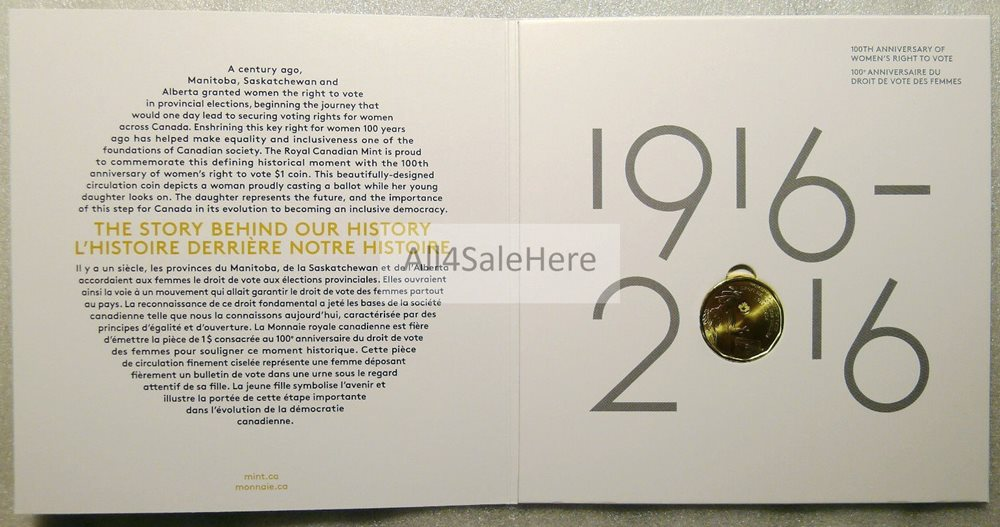 2016 Canada 100th Women/'s Right to Vote $1 Dollar Empty Collector Card *No Coin*