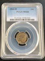 10 Cents Silver Coin PCGS MS-66 Mint D Denver 1964___ LDP Shop.