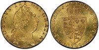 GREAT BRITAIN. George III. (King, 1769-1820). 1799 AV Guinea. PCGS MS64. GEORGIVS III DEI GRATIA ·. Laureate head right / F · D · B · ET · L · D · S · R · I · A · T · ET · E · - M · B · F · ET · H · REX ·. Crowned 4-fold spade arms. KM 609; SCBC 372
