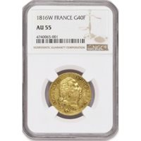 1816 W G40F 40 Francs Gold France Louis XVIII NGC AU55 About Uncirculated Coin