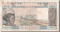 5000 Francs 1992 West African States Banknote