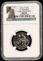 2012-P El Yunque NGC MS68 Early Releases ER Puerto Rico Quarter 25c Cent (Pop 17