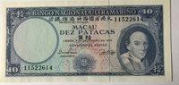 Tien patacas 1977 Macau Paper