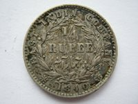 East India Company 1840 silver Quarter Rupee NVF scratches 4 without crossbar