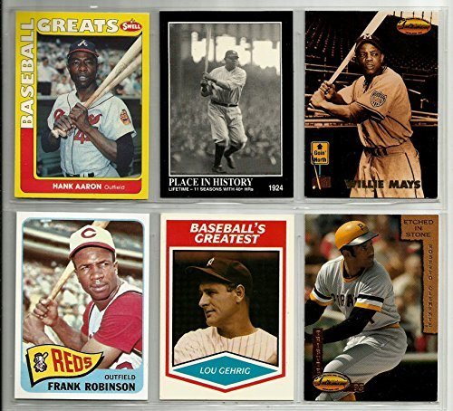 Superstar Hall Of Famer Reprint Baseball Card Lot 6 Babe Ruth 1924 Hank Aaron Roberto Clemente Willie Mays Frank Robinson 1965 Lou Gehrig