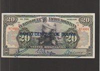20 Bolivianos Banknote 11 5 1911 Bolivia,banco Central de Bolivia