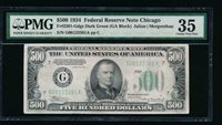 AC 1934 $500 FIVE HUNDRED DOLLAR BILL Chicago PMG 35 comment