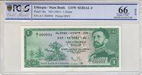 Äthiopien 1 Dollar Hailé Sélassié 1961 Serial A 1 n°000094 Pcgs 66 Opq