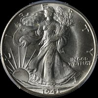 1941-D Walking Liberty Half PCGS MS65+ Great Eye Appeal Fantastic Luster