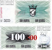 "Bosnia 100 000 Dinara Banknote 1993 Short Red Zeros /""0/"" UNC P56b"