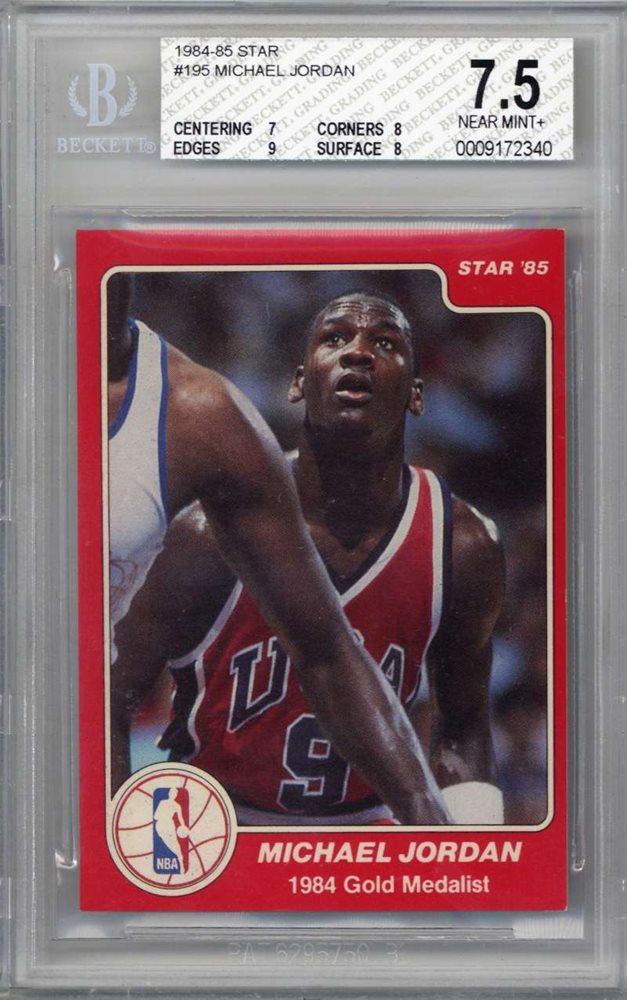 Michael Jordan 1984 85 Star 195 Rookie Card Beckett Bgs Near Mint 75