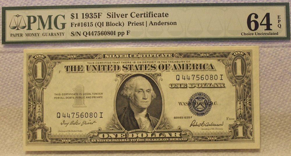 1 1935 F Silver Certificate Note Pmg 64 Epq Blue Seal