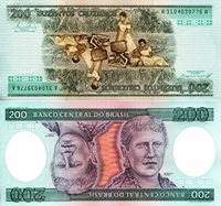 """Brazil 200 Cruzeiros Pick #: 199b 1984 UNC Aqua/Red Double Portrait of Princess Isabel; Double view of women cooking outsideNote 6"""" x 3"""" South America Princess Isabel"""