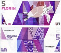 "Aruba 5 Florin Pick #: 6 1990 UNCOther Caribbean Islands Currency Purple Geometric designs; Turtle Note 5 3/4"" x 2 1/2"" North and Central America Caribbean Stylized Tree"