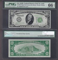 Fr#2002-H $10 1928B H08683316A 66EPQ DGS, 1 OF 3 with 4 67s finer
