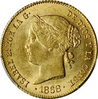 1868/58 4 Peso Spanish Philippines MS63 PCGS
