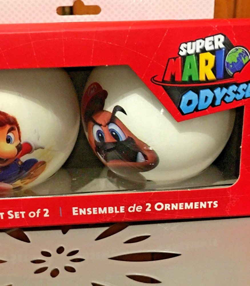Nintendo Super Mario Odyssey Captured Goomba Boxed Ornament Set Of 2 New
