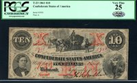 T23 $20 September 2, 1861. Cotton Wagon. Criswell 153, PF-1, plain paper, serial A. PCGS Very Fine 25. Superior color. Serial 5950.
