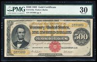 "FR.1216A 1882 $500 GOLD CERTIFICATE PMG30 ""LINCOLN"" RARE!"
