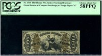 """F1365 50c Justice. Compact """"A-2-6-5"""", with """"a"""". PCGS Choice About New 58 PPQ."""