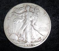 1944d Walking Liberty Half, VF-35, 1944d Half Dollar, 1944d Silver Half Dollar, Old half dollar, old coin, old money, epsteam