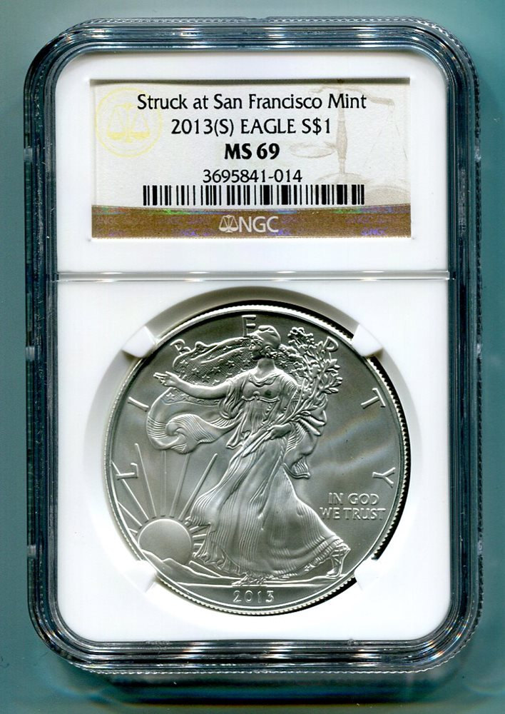 S AMERICAN SILVER EAGLE SAN FRANCISCO MINT LABEL NGC MS69 BROWN NICE COIN 2011