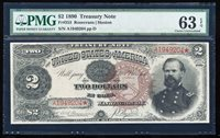 "FR.353 1890 $2 TREASURY NOTE PMG63 EPQ CHOICE CU ""ORNATE BACK"""