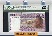 2500 Francs 1994 West African States/senegal Pmg 65 Epq Gem