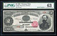 FR.356 1891 $2 TREASURY NOTE PMG63 CHOICE CU LOW SERIAL #B7