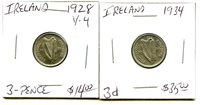 1928 - 1934 - Ireland - 2 Coin Lot - 3 Pence - Very nice Coins !!!