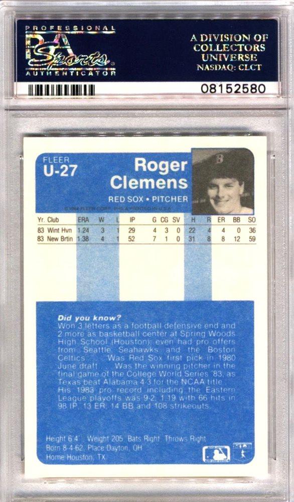 1984 Fleer Update U 27 Extended Rookie Card Roger Clemens Psa 10