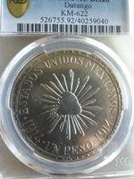 1914 Mexico un peso MUERA HUERTA Revolution coin! Scarce Variety: PLAIN EDGE!