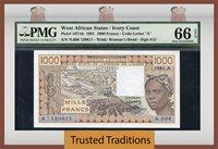 1000 Francs 1981 West African States Ivory Coast Pmg 66 Epq Gem