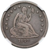1840 O Seated Quarter No Drapery NGC VF-25 CAC