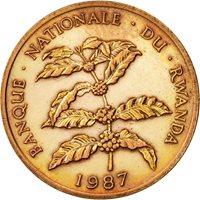 Rwanda, 5 Francs, 1987, British Royal Mint, EF(40-45), Bronze, KM:13