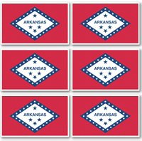 3x5 Inch ARKANSAS State Flag Sticker Decal - 6 PACK
