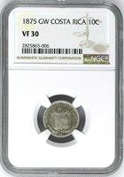 Costa Rica: Republic 10 Centavos 1875 GW, NGC VF-30, KM# 121 Silver Coin