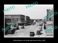 OLD POSTCARD SIZE PHOTO OF LIBERAL KANSAS THE MAIN STREET & STORES c1920 1