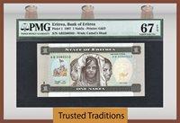 1 Nakfa 1997 Eritrea Bank Of Eritrea Pmg 67 Epq Superb Gem Unc Top Pop!
