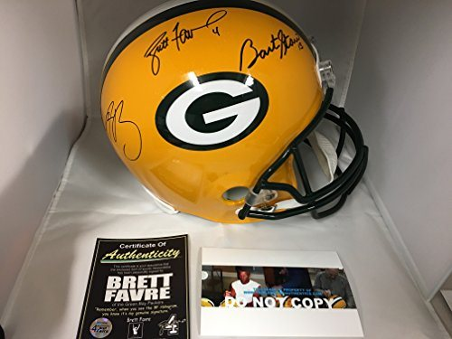 huge discount 20ff8 f6787 Bart Starr Aaron Rodgers Brett Favre Triple Signed Autographed Green Bay  Packers Helmet COA W/Photos Of Signing