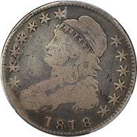 1818 PCGS G Details Capped Bust Half Dollar 50C – Overton 115 – Bent