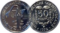 WEST AFRICAN STATES 1972 50 FRANC, PCGS SP69 ESSAI