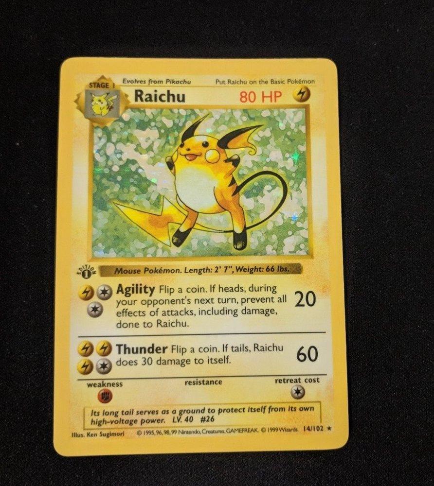 Base Set Pokemon Card Near Mint 1st Edition Shadowles Raichu PSA 6