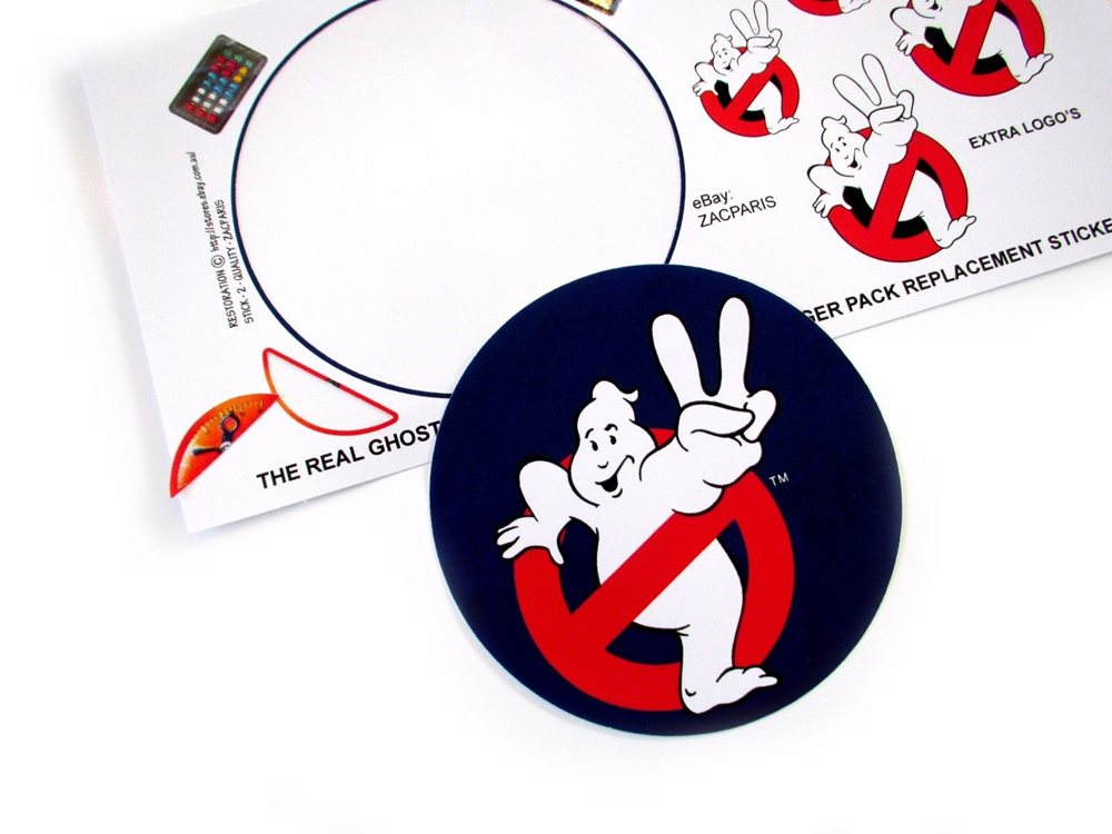 Replacement sticker//label//decal sheet Kenner Ghostbusters Ecto Charger Pack