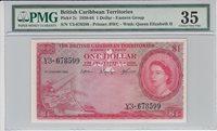 1 Dollar British Caribbean Territories P 7c 1958-64 Pmg 35